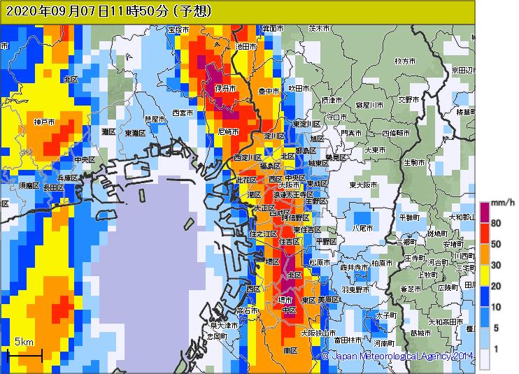 大阪市内は30分後(11時半~)に豪雨です!